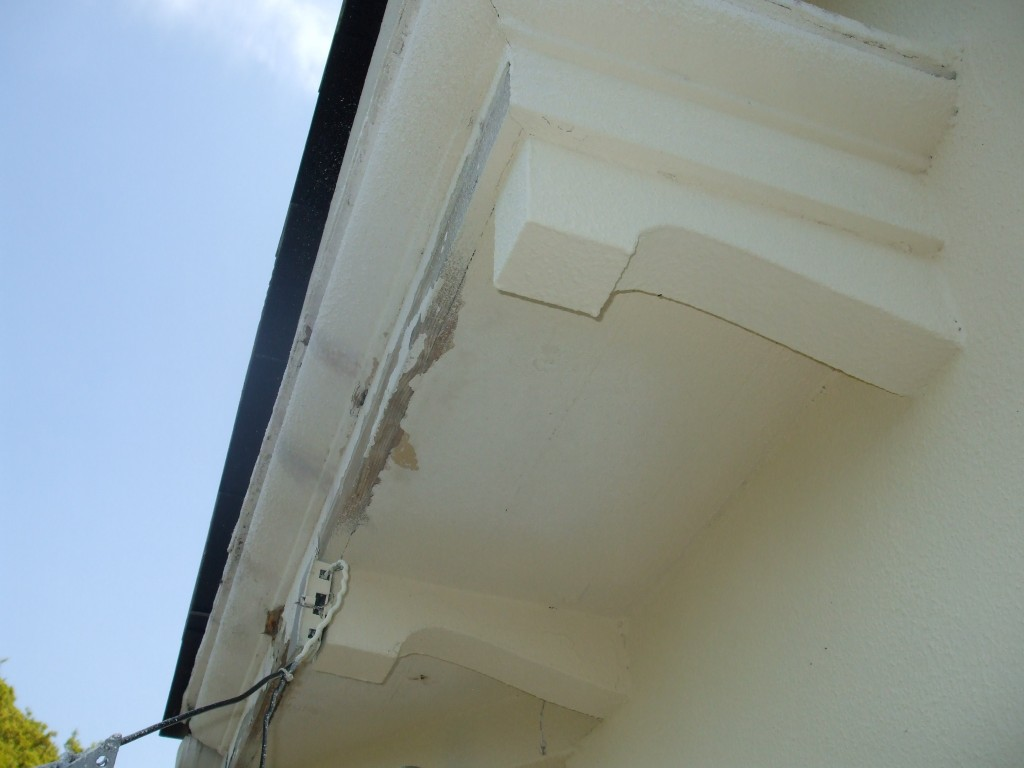 Before gutter and soffit repairs